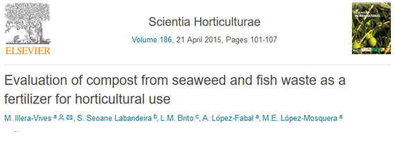 Evaluation of compost from seaweed and fish waste as a fertilizer for horticultural use